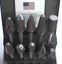CARBIDE BURR KIT 1/4 PLAIN 10pc